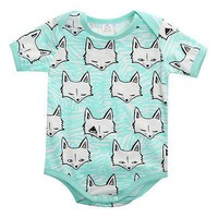 Baby Boys Mint Fox Onesuit