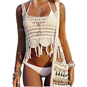 White Fringe Crochet Beach Cover Crop Top