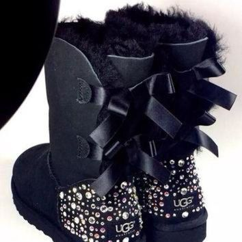 CREY1O Crystal Bling Ugg Bailey Bow Boots made with Genuine Swarovski Crystals in Sparkly Nig