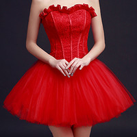 Red Strapless Frill Sweetheart Lace Overlay Homecoming Dress