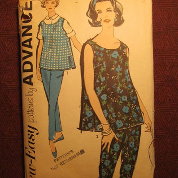 SALE Complete 1960's Advance Sewing Pattern, 2726! Size 9 Small/Medium/Women's/Misses/Maternity Tops/Overblouse/Tapered Pants/Expandable Pan