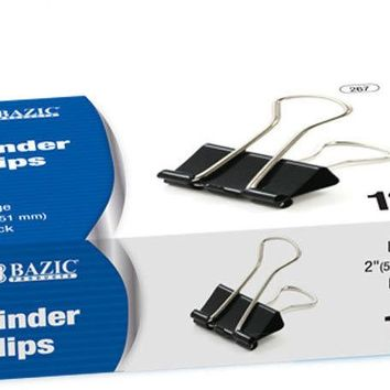 "BAZIC Large 2"""" (51mm) Black Binder Clip (12/Box) Case Pack 12"