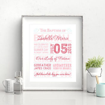 Baptism GIft, Custom baptism print, Baptism gift for a girl, Personalized Baptism, Christening Gift, Nursery Decor, You print DIGITAL FILE
