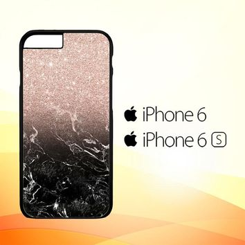 Modern rose gold ombre black marble E1399 iPhone 6|6S Case