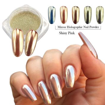 0.5g Fashion Champagne Silver Mirror Nail Glitter Powder Dazzling Pink Beauty Holographic Pigment Nail Art Decoration CH820