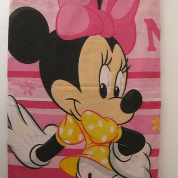 Vintage Disney Minnie Mouse Flat Sheet Full Size Bed Sheet Craft Fabric Clean USED HTF Kids Bedding Girl Fabric