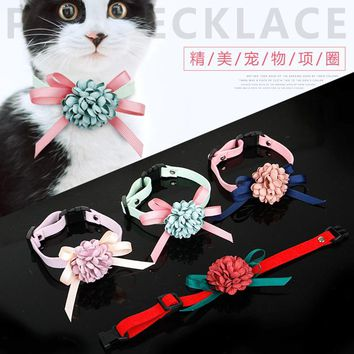 5pcs Korean small and pure and fresh Manual bowknot of neckties Pet tire teddy puppy dog accessories cat adjusted