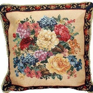 "DaDa Bedding Breath of Spring Dark Border Floral Elegant Square Accent Cushion Cover - 18"" - 1-Piece"