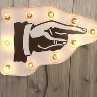 Arrow hand sign marquee light by HitandMissLimited on Etsy