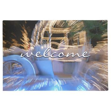 """Welcome"" princess sparkly coach photo doormat"