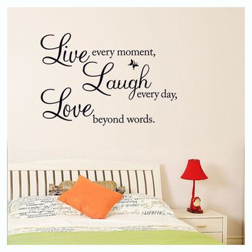 Happy Family Fashion Home Decors DIY Love Words Wall Stickers for Living Bed Room Backdrop Decals Vinyl Adesivo de Parede Murals