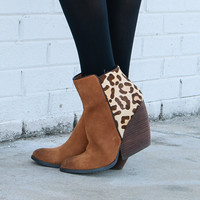 Very Volatile Chatty Cat Tan & Leopard Print Chunky Wedge Ankle Boot