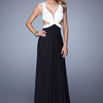 La Femme - 21245 Sleeveless Plunging Two Tone Evening Gown