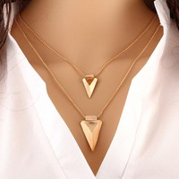 Stunning Double Layer Arrow Gold Pendant & Chain Set
