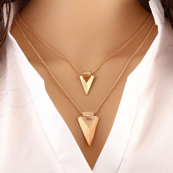 Double Arrow Layered Necklace