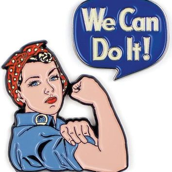 Rosie The Riveter & We Can Do It Enamel Pin Set
