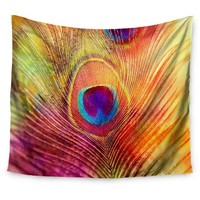 """Sylvia Cook Peacock Feather Wall Tapestry (51""""x60"""") - Kess InHouse"""
