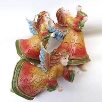 Vintage Angels and Cherubs, Christmas Angles, Tree Ornaments, Hanging Decorations - Set of 3