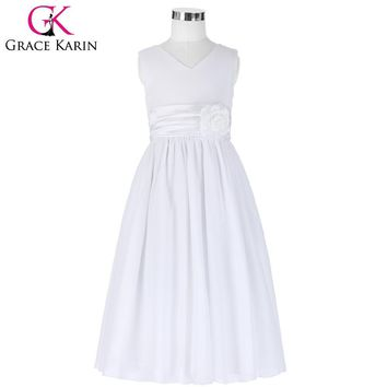 Grace Karin White Flower Girl Dresses Pageant Gown Chiffon Girls Baby Blue Christmas Party dress for Wedding Child Clothes