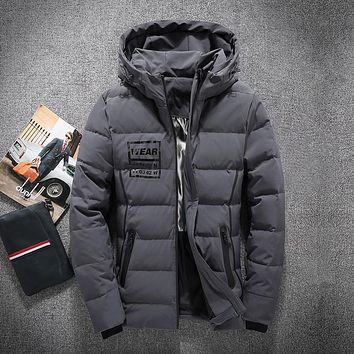 Winter Mens White Duck Down Jackets Man Solid Thick Winter Down Coats Male Fashion Quality Overcoats Keep Warm Outerwear 8007