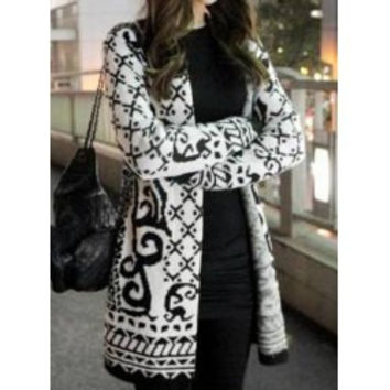 Vintage Collarless Long Sleeve Geometric Pattern Knitted Women's Cardigan