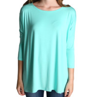 Lucite Green Piko 3/4 Sleeve Top