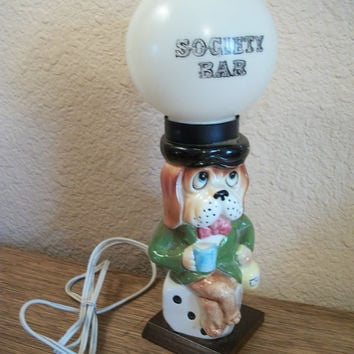 Ceramic Dog Drinking Sitting On Dice Under Society Bar Plastic Globe Electric Lamp Novelty Lighting Home Bar Decor Vintage 1950's Enesco