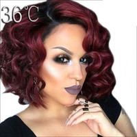 2017 Sexy Wavy Bob Style 1B 99J Ombre Full Lace Wig Burgundy Two Tone Lace Front Wig Glueless Human Peruvian Virgin Hair Wig
