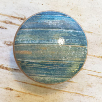 Distressed Wood Knob Drawer Pulls, Blue Tones, Old Wood Cabinet Handles, Barn Wood Style, Reclaimed Wood, Made To Order, Style 3