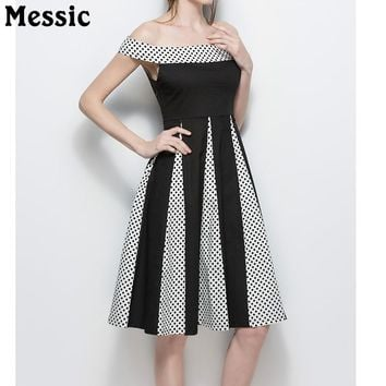 2018 Women Summer Polka Dot Tunic Dress Office Party Dresses Vintage A Line Sundress Slim Off Shoulder Black Sexy Vestidos Femme