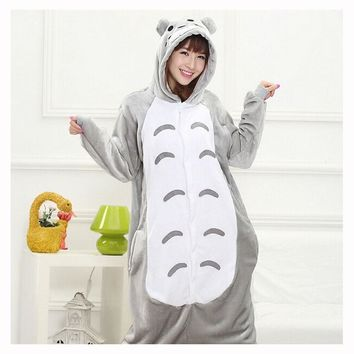 Totoro Kigurumi Onesuit Adult Women Animal Pajamas Suit Flannel Warm Soft Sleepwear Onepiece Winter Jumpsuit Pijama Cosplay
