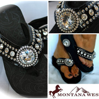 Montana West NEW STYLE! Western Bling Flip Flop Wedge Jeweled Black All Sizes!