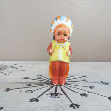 Penny Doll Indian Penny Doll Bisque Doll Made in Japan Frozen Charlotte Indian Porcelain Doll Small Doll Collectible Doll Native American