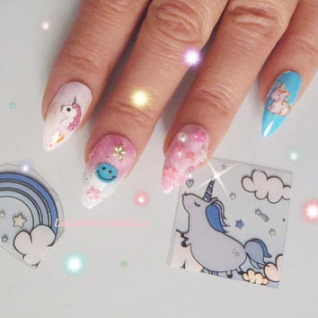 unicorn fake nails pony 3d pastel goth press on false nail halloween  kei pop otaku lavander pink glitter lolita artificial lasoffittadiste
