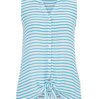 Striped Button Down Chiffon Tank With Tie Bottom - Aqua Crush Combo