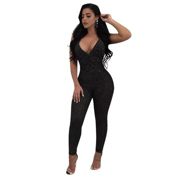 Black Polyester Spandex Solid Casual Jumpsuits & Rompers