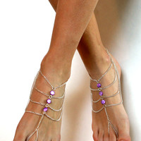 Purple Chained Silver Barefoot Sandals