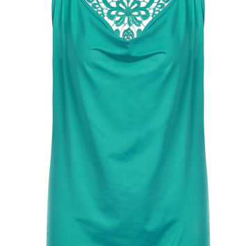 Green Lace Racer-back Design Tank Top