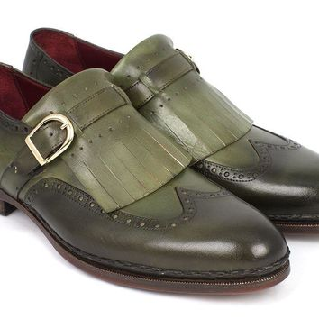 Paul Parkman (FREE Shipping) Men's Wingtip Monkstrap Brogues Green Hand-Painted Leather Upper With Double Leather Sole (ID#060-GREEN)