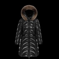 Moncler Women's FULMAR Long Down Jackets Hoodie Black Wine Red Outwear- Best Deal Online
