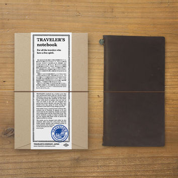 Midori Traveler's Note Leather Journal Starter Kit Brown