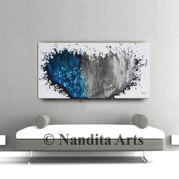"""Blue Painting, 48"""" Modern Art on canvas, Gray Large painting, Contemporary art home decor Ocean Color Abstract Artwork - Nandita Albright"""