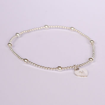 Sterling Beaded Bracelet with Mini Love Tag