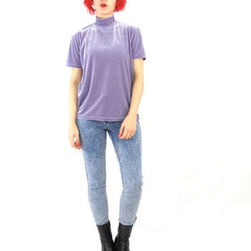90s Velvet Turtleneck Top Lilac Purple Velvet Tshirt Minimalist Grunge Layering Short Sleeve Mock Neck Top Pastel Lavender Spring Shirt (M)
