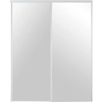 TRUporte 48 in. x 80 in. 230 Series White Mirror Interior Sliding Door-341400 - The Home Depot