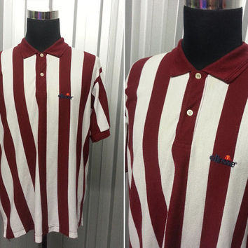 Vintage 80s Ellesse Polo Shirt • Burgundy Shirt • Retro Sportswear • Striped T Shirt • XXL