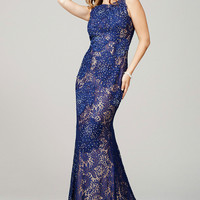 Navy Sleeveless Lace Prom Dress 35299