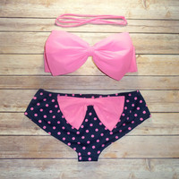 Bow Bandeau Bikini - Cheeky Boy Short Style Swimwear -  With Bow on Butt  - Candy Pink With Polka Dots - Unique and so Cute!