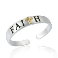 Sterling Silver Two Tone 'Faith' Toe Ring