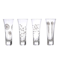 Platinum Etched Champagne Glass Set
